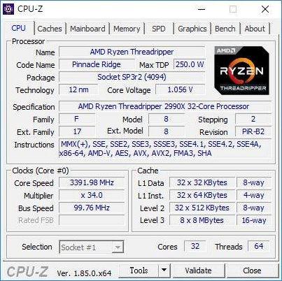 Lộ thông tin quái vật CPU 32 nhân Threadripper 2990X của AMD: Xung nhịp 3,4 GHz, tiêu tốn 250W điện năng