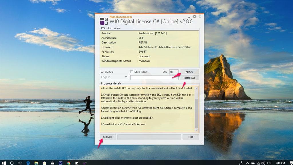 Hướng dẫn active miễn phí và hợp pháp bản quyền Windows 10 Pro 1803 vĩnh viễn