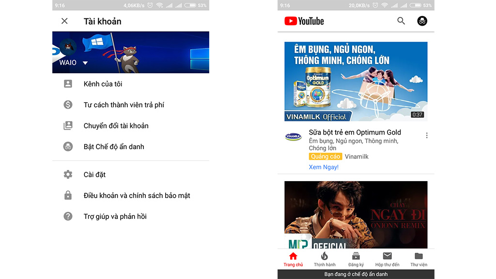 Hướng dẫn bật tính năng xem video ẩn danh trên ứng dụng Youtube Android