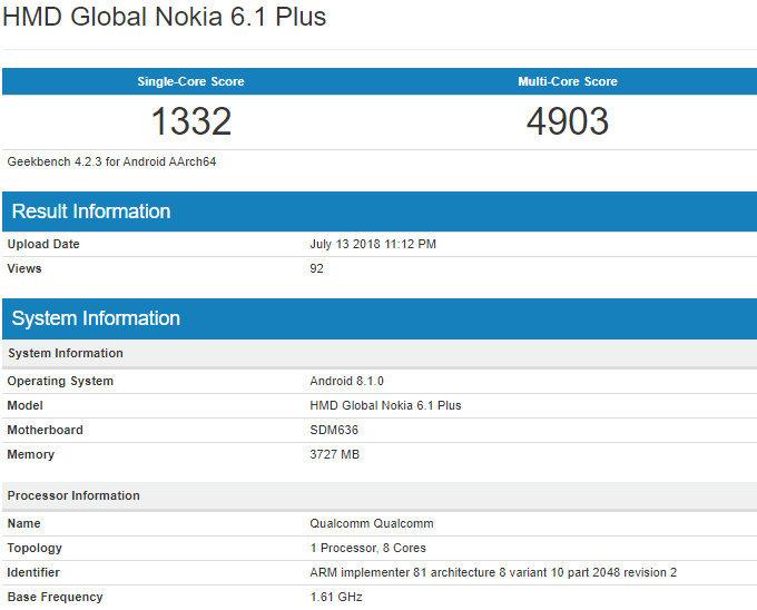 Nokia 6 (2018) Plus: Phiên bản quốc tế của Nokia X6 rò rỉ thông số kỹ thuật trên Geekbench