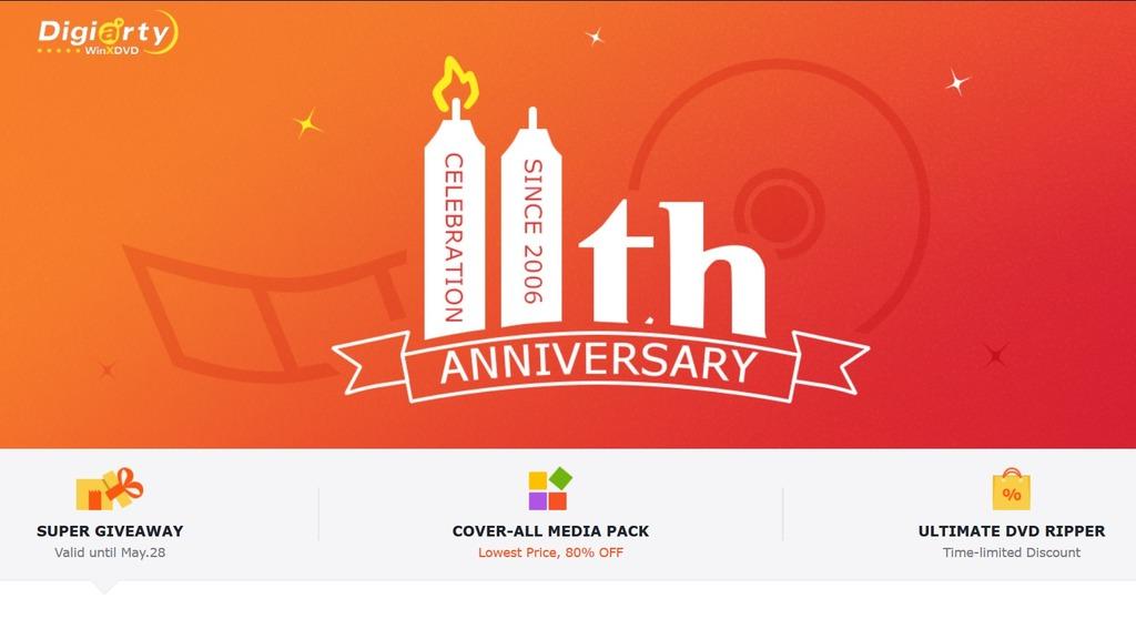 Kỷ niệm 11 năm thành lập, nhà phát triển Digiarty tặng miễn phí 5 phần mềm trị giá lên đến 170 USD