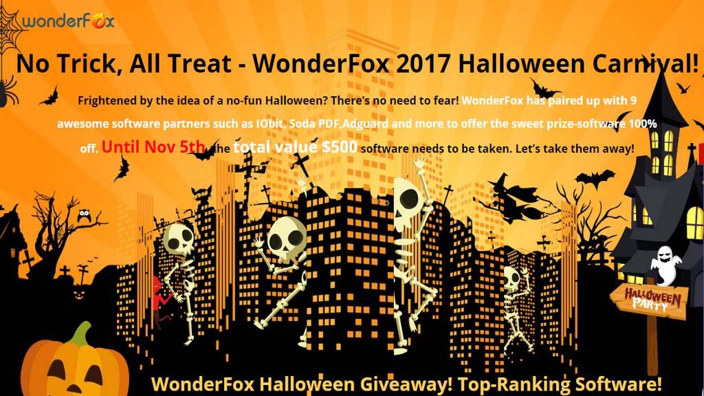 Mời tải miễn phí 9 phần mềm bản quyền trị giá 500$ từ WonderFox 2017 Halloween Carnival