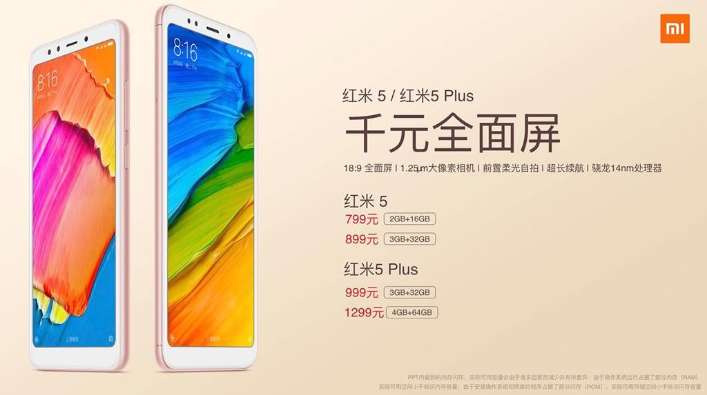 Xiaomi chính thức ra mắt bộ đôi Redmi 5 và Redmi 5 Plus với màn hình 18:9, giá từ 2.700.000 VNĐ
