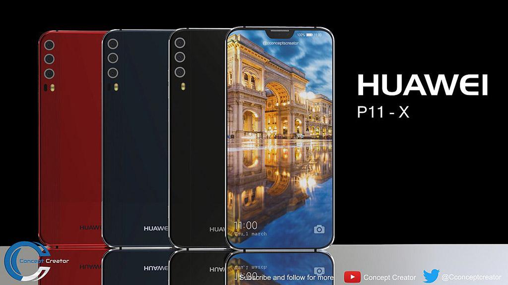 Cùng ngắm concept Huawei P11 với viền bezel siêu mỏng, 3 camera sau và phần tai thỏ tương tự iPhone X