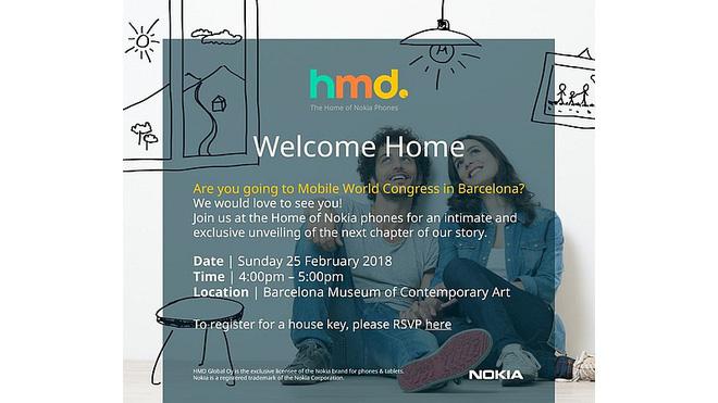 HMD Global chính thức gửi giấy mời sự kiện diễn ra vào ngày 25/2, trước thềm MWC 2018, có thể ra mắt Nokia 9