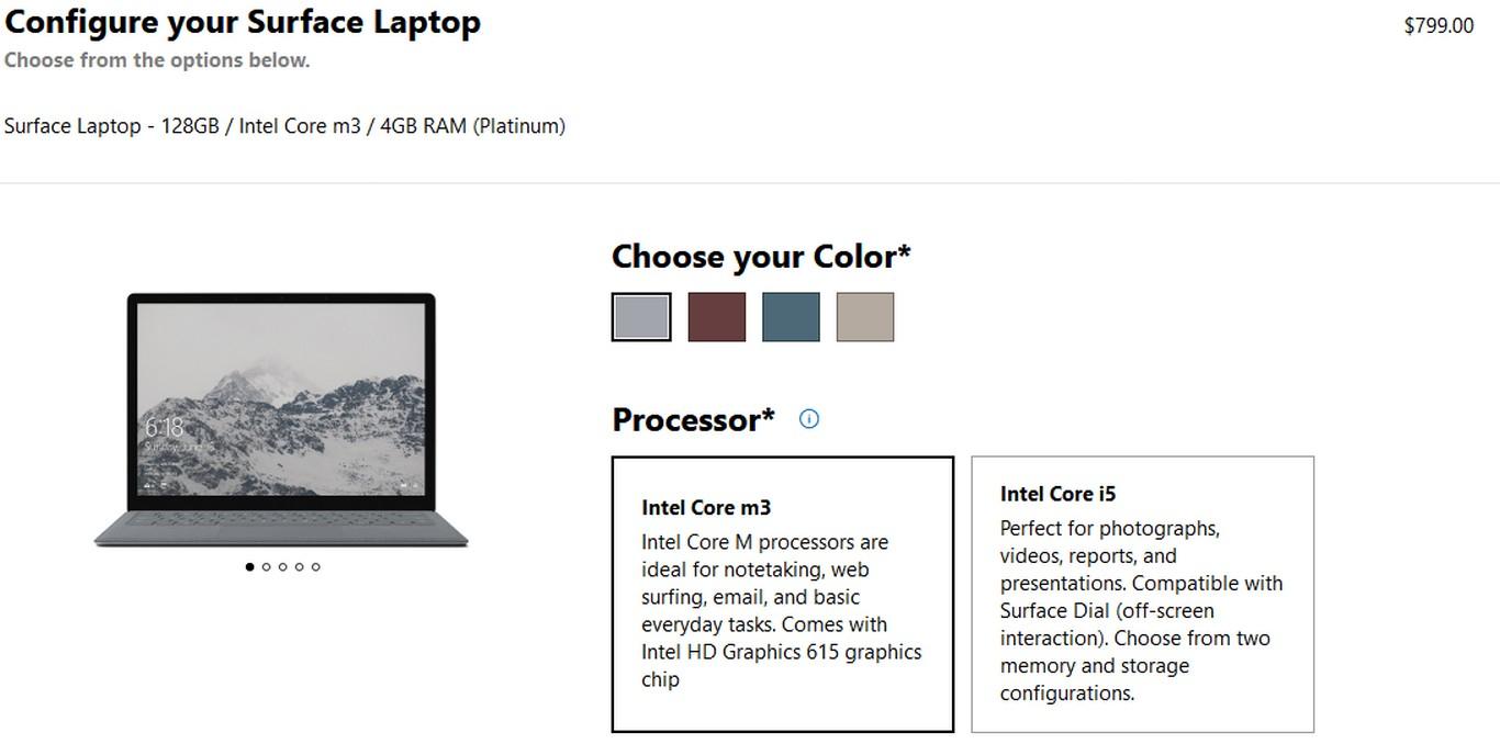 Microsoft ra mắt phiên bản giá rẻ của Surface Laptop, với chip Intel Core m3,   ram 4GB, SSD 128GB