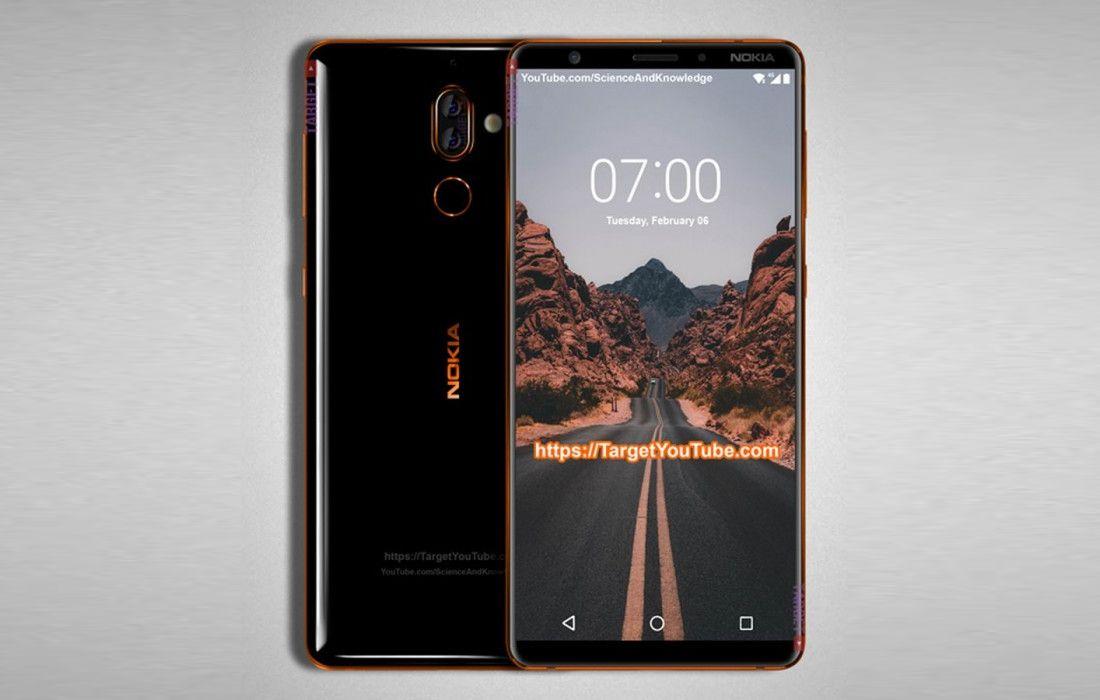 Rò rỉ hình ảnh render của Nokia 7 Plus với thiết kế 2 mặt kính, màn hình 18:9, và cụm camera kép