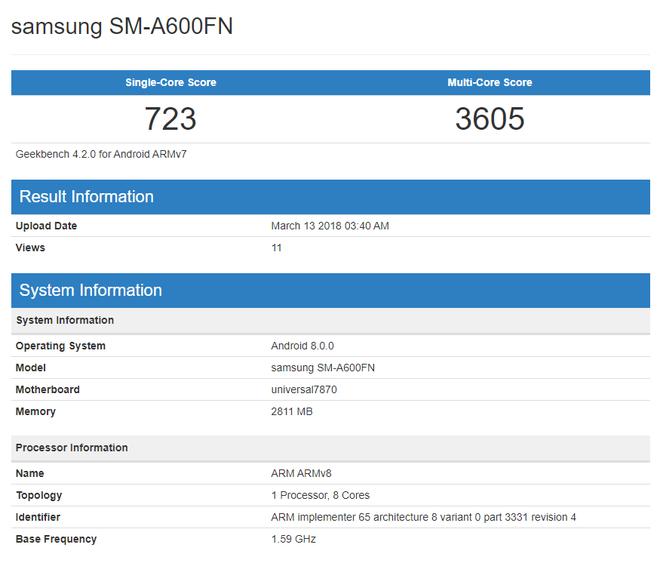 Galaxy A6 và Galaxy  A6+ lộ điểm benchmark trên Geekbench