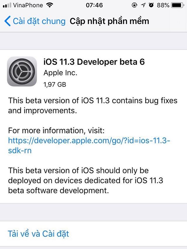 Apple phát hành iOS  11.3 Beta 6 tiếp tục cải thiện hiệu năng và sửa lỗi, anh em tải về trải nghiệm nhé!