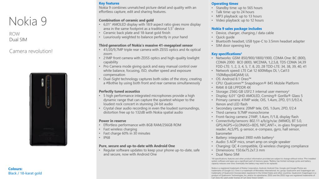 Nokia 9 lộ cấu hình trên website Trung Quốc với Snapdragon 845, 8GB RAM, 256GB, cùng bộ 3 camera chính siêu khủng 41MP/9.7MP/20MP