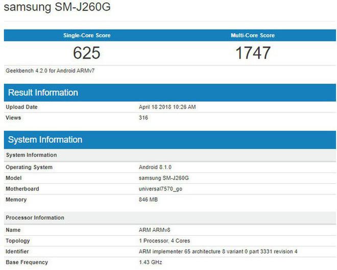 Galaxy J2 Core có thể là smartphone Android Go đầu tiên của Samsung