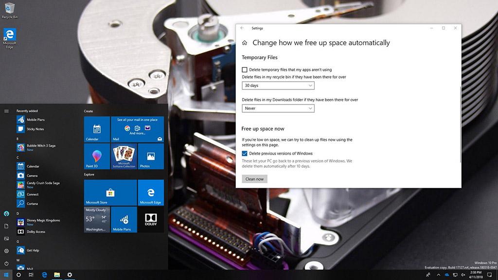 Tổng hợp một số cách giải phóng bộ nhớ máy tính sau khi nâng cấp Windows 10 April 2018 Update
