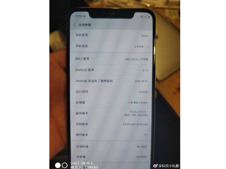 Rò rỉ hình ảnh Xiaomi Mi 7 với camera kép đặt dọc, màn hình tai thỏ, Snapdragon 845, 6GB RAM