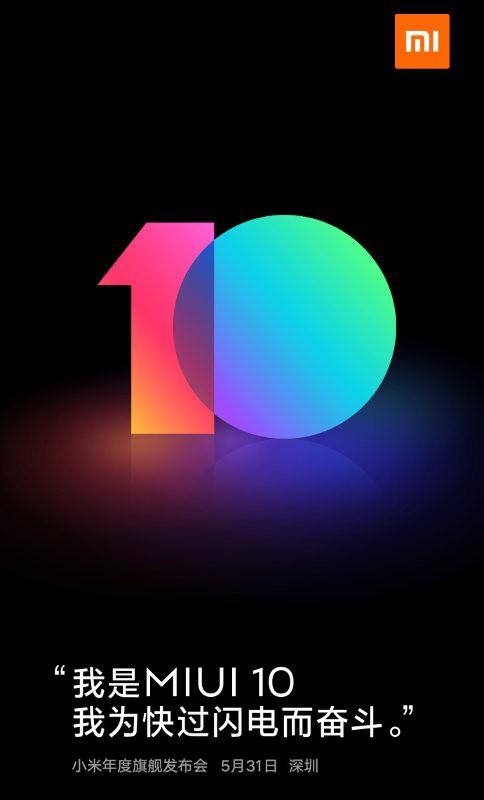 MIUI 10 sẽ được ra mắt trong sự kiện ngày 31/5, và được cài sẵn trên Xiaomi Mi 8