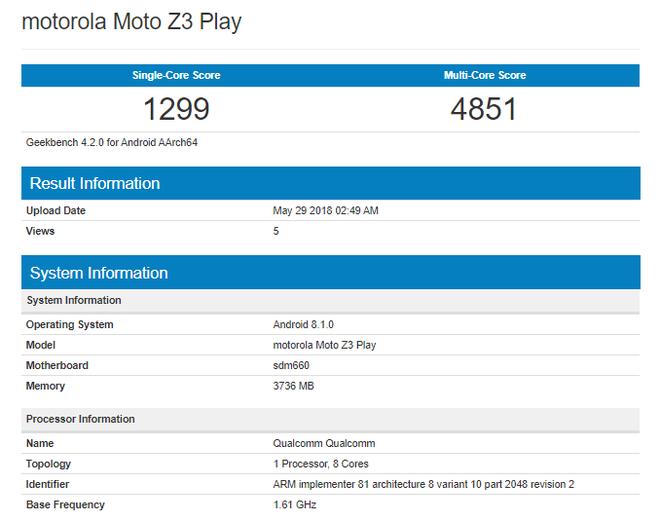 Moto Z3 Play lộ diện trước ngày ra mắt: Chip Snadragon 660, RAM 4GB, màn hình AMOLED 6 inch, camera kép 12MP