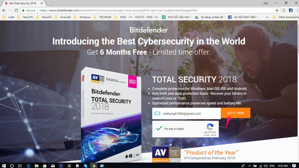 Hướng dẫn kich hoạt 6 tháng bản quyền phần mềm Bitdefender Total Security 2018