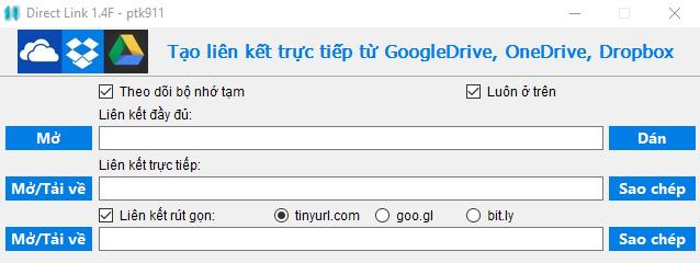 Chia sẻ tool getlink Direct từ Google Drive, OneDrive và Dropbox