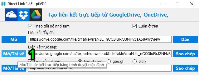 [Windows] Chia sẻ công cụ lấy Direct Link từ Google Drive, OneDrive và Dropbox