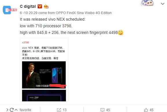 Rò rỉ giá bán và video của Vivo NEX: Màn hình không viền, có giá từ 13.3 triệu đồng