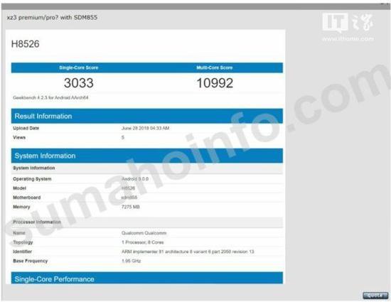Sony Xperia XZ3 Pro xuất hiện trên Geekbench với Vi xử lý Snapdragon 855