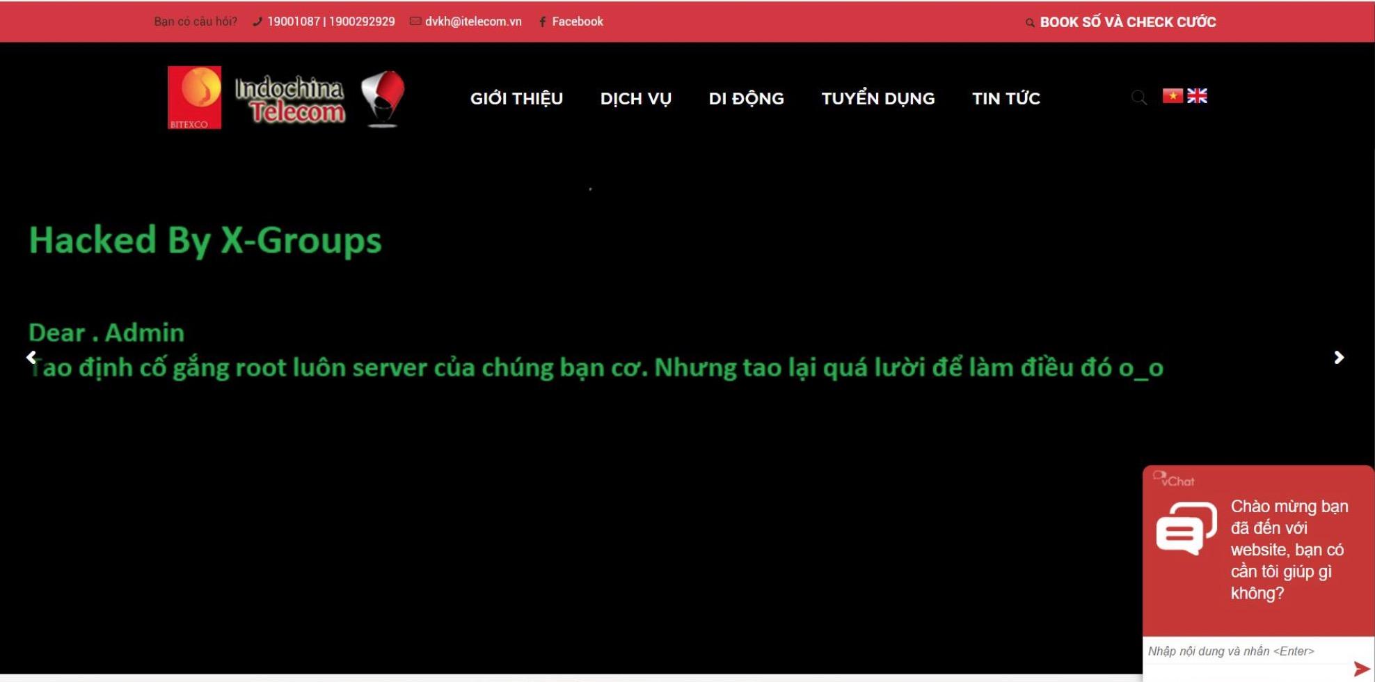 Vừa mới ra mắt sáng nay tại Việt Nam website nhà mạng ITelecom đã bị hacker tấn công