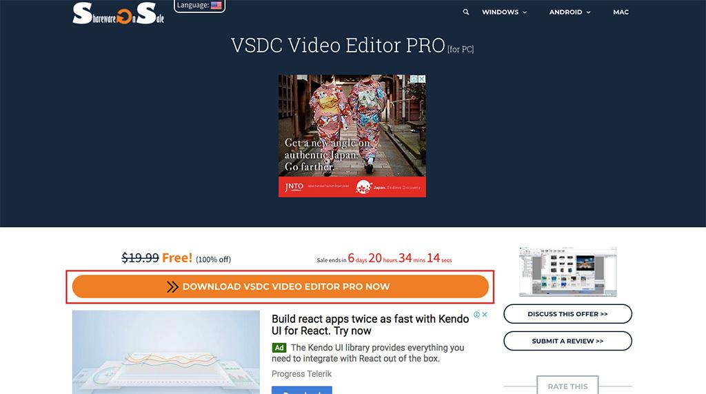 tenovi net - Nhanh tay nhận miễn phí VSDC Video Editor PRO