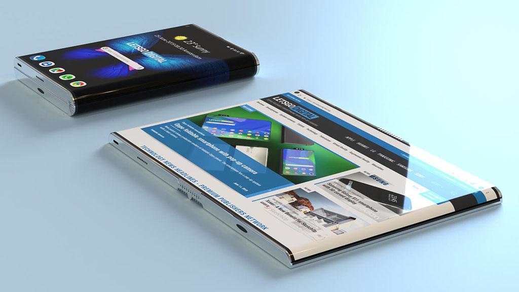 Ngắm concept Galaxy Fold tuyệt đẹp với màn hình gập ra ngoài được dựng từ bằng sáng chế của Samsung