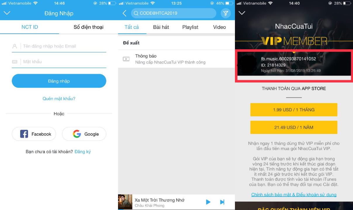 Nhanh tay nhận mã CODE nâng cấp NhacCuaTui VIP mừng ca   khúc
