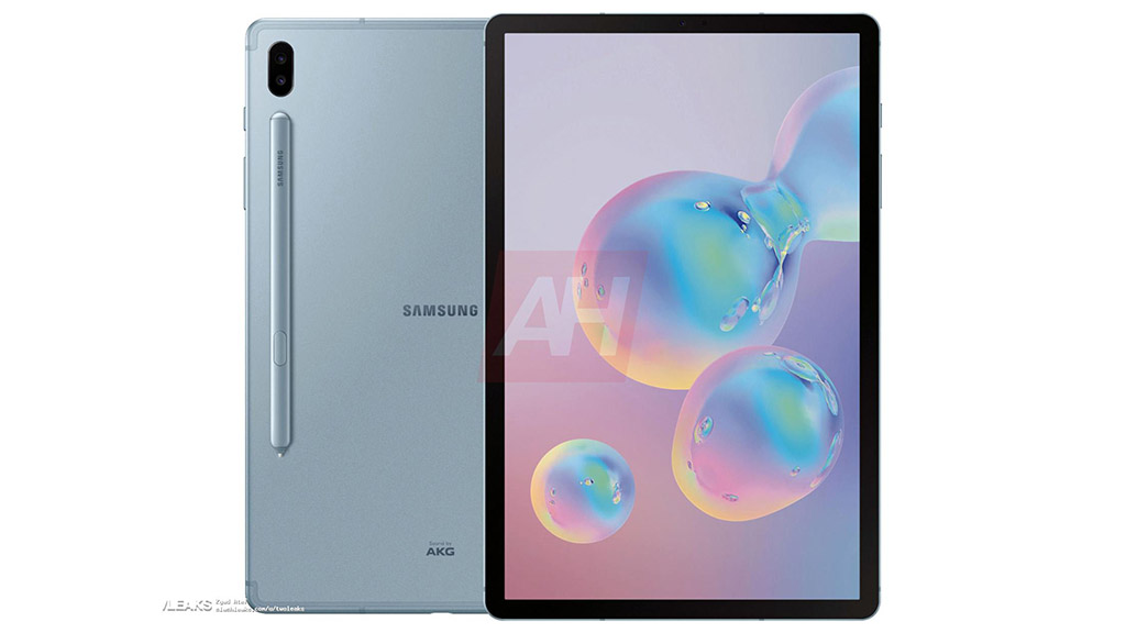 Lộ ảnh render Galaxy Tab S6 với 4 viền mỏng, camera kép, kèm bút S-Pen