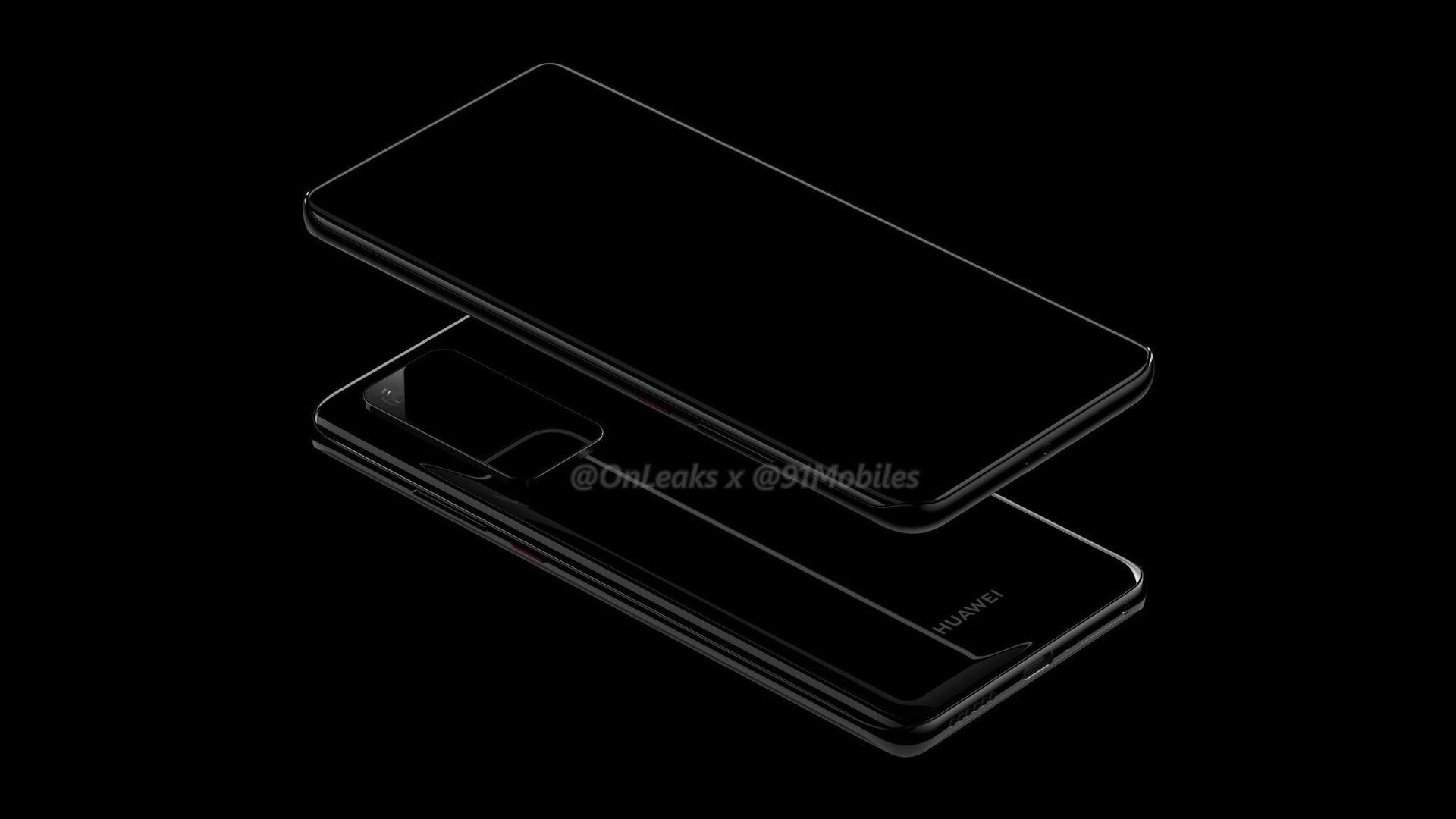 Huawei P40, P40 Pro lộ hình ảnh render với cụm camera hình chữ nhật tương tự Galaxy S11 series