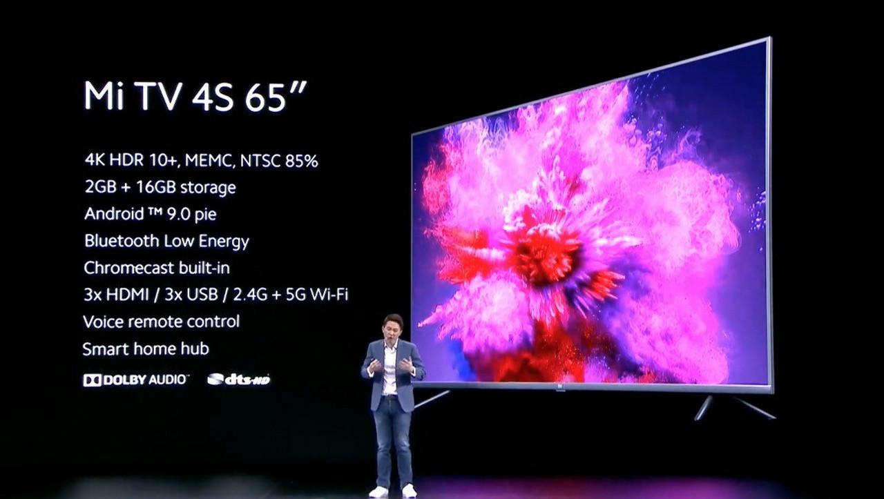 Mi TV 4S: Mẫu smart TV mới của Xiaomi với màn hình 65 inch, độ phân giải 4K HDR10+, giá chỉ hơn 549 EUR