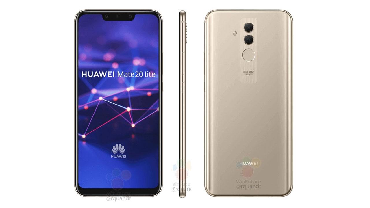 Huawei Mate 20 Lite lộ ảnh báo chí với màn hình tai thỏ, 4 camera