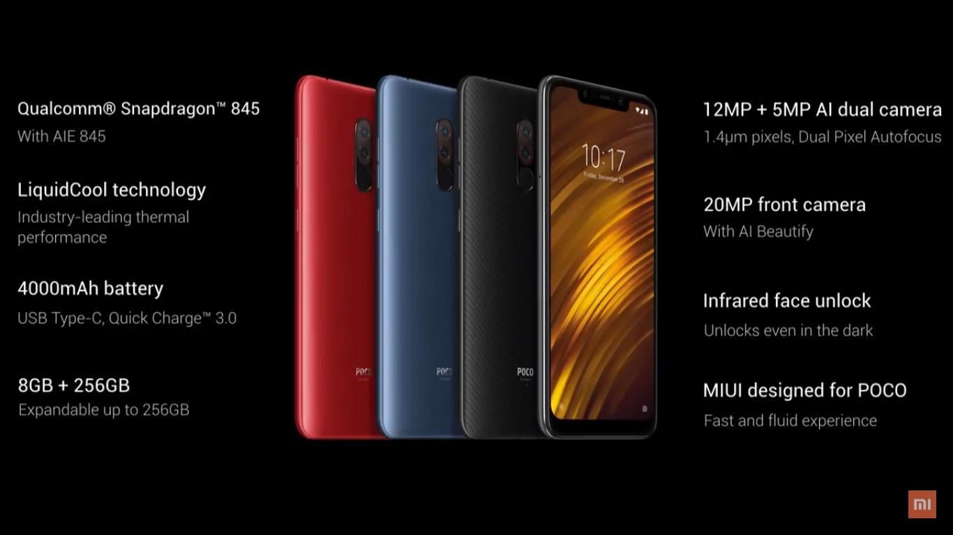 Xiaomi chính thức ra mắt Poco F1 tại Ấn Độ với Snapdragon 845, 6/8GB RAM, camera kép, giá từ 7 triệu