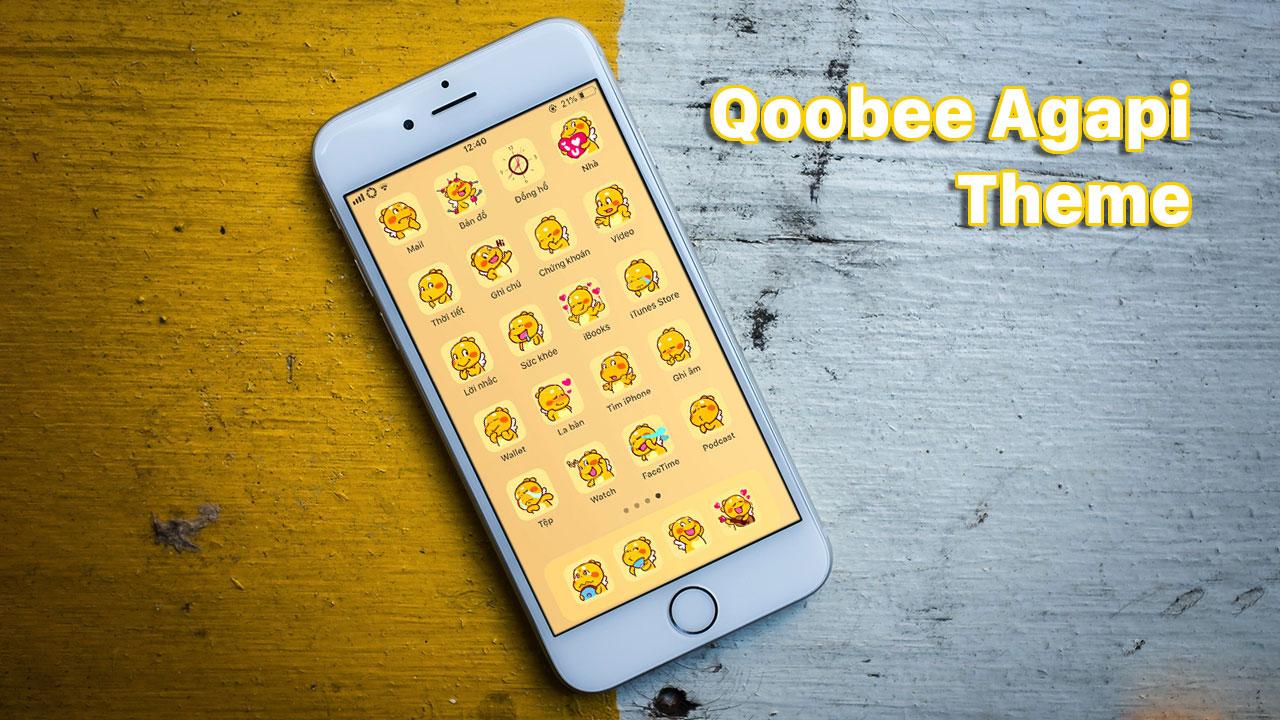 Chia sẻ bộ theme Qoobee Agapi với thiết kế icon cực kỳ dễ thương dành cho iPhone đã jailbreak, mời anh em tải về