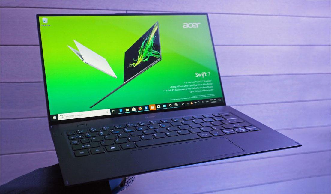 [CES 2019] Acer ra mắt Swift 7 (2019): Mỏng chưa đến 1cm, tỷ lệ màn hình 92%, chip Intel Core i7-8500Y, giá từ 1.699 USD