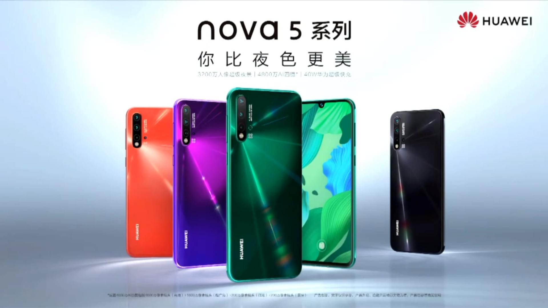 Huawei trình làng bộ đôi Nova 5/Nova 5 Pro với chip Kirin 810 mới, 4 camera sau, sạc nhanh 40W