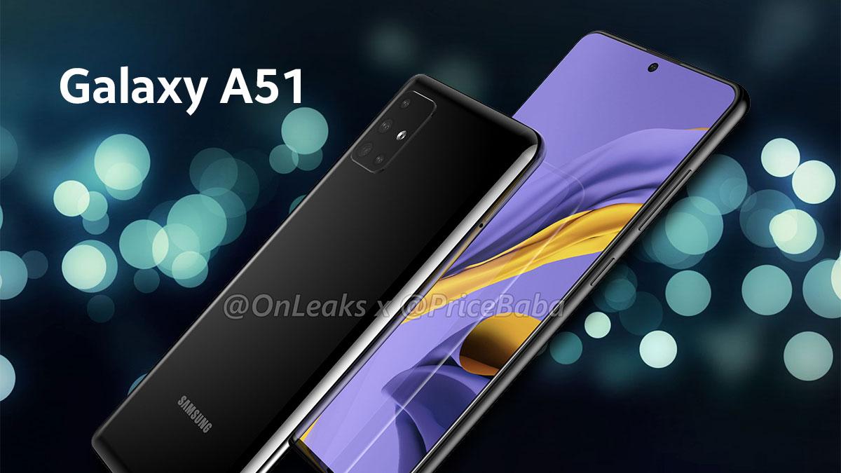 Galaxy A51 lộ ảnh render với màn hình đục lỗ như Note 10, cụm 4 camera sau hình chữ 'L' độc đáo