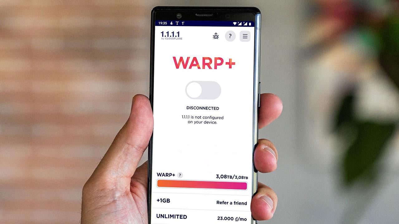 Warp+ VPN (1.1.1.1) dịch vụ VPN miễn phí, sử dụng ngay không cần đăng ký tài khoản, tăng data không giới hạn