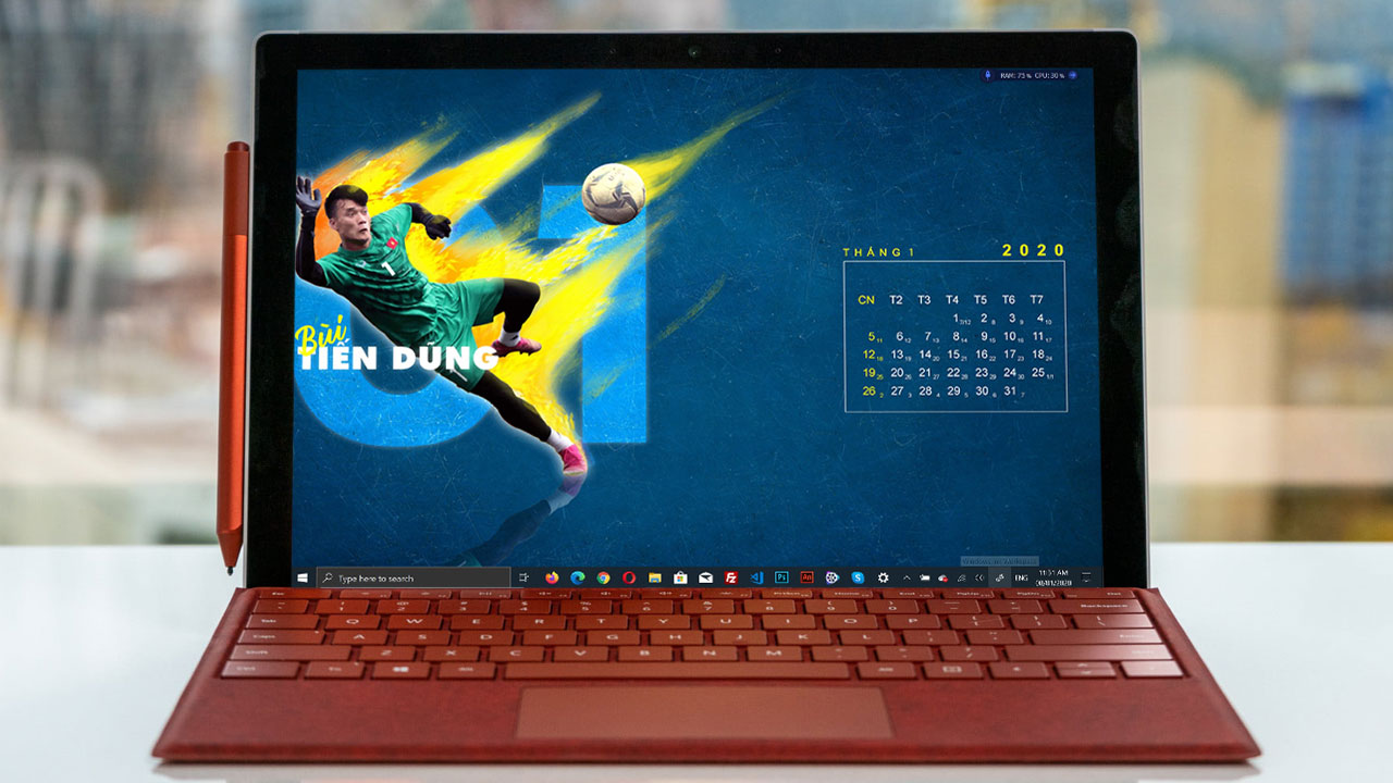 Chia sẻ bộ ảnh nền lịch năm 2020 cho máy tính với hình các cầu thủ nổi tiếng của U23 Việt Nam