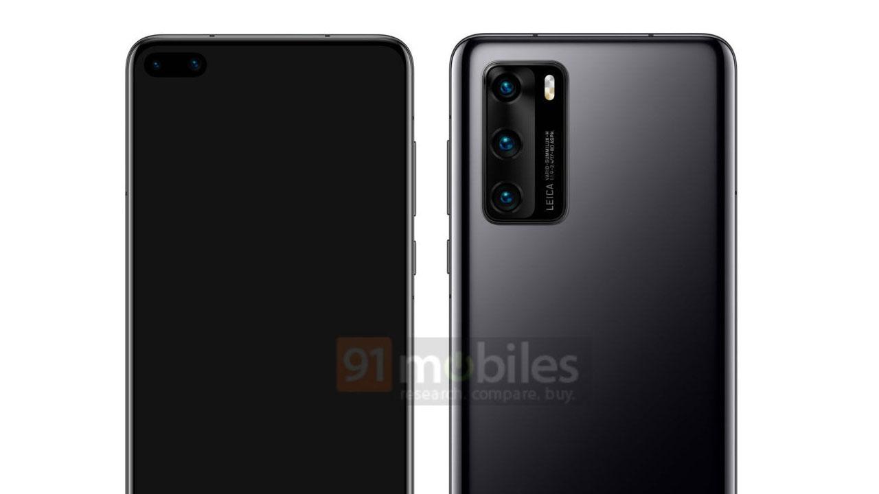 Huawei P40 lộ ảnh render với màn hình đục lỗ, 3 camera chính, hợp tác cùng Leica