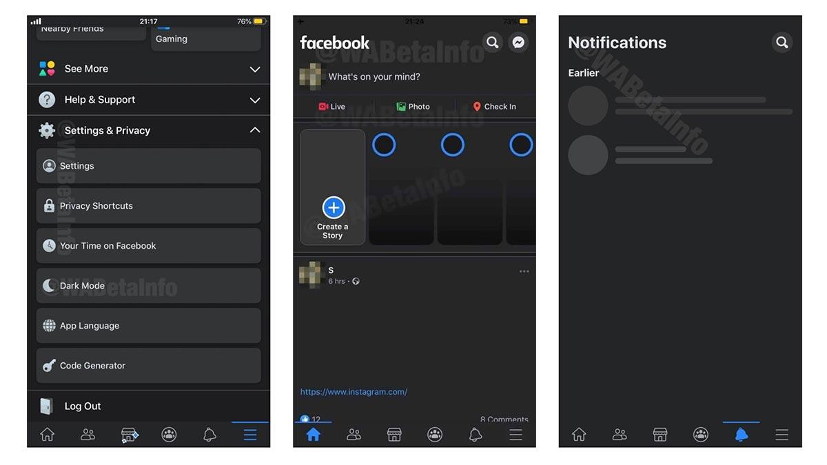 Đây là giao diện Dark Mode của Facebook trên iOS