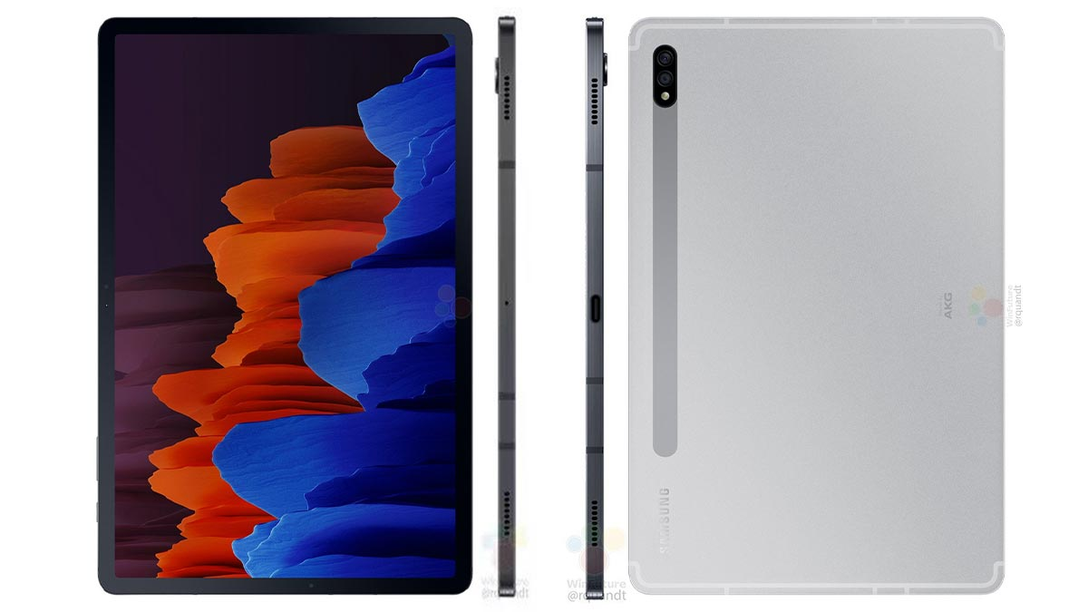 Lộ hình ảnh render và thông số kỹ thuật của Galaxy Tab S7/S7+ với màn hình 120Hz, Snapdragon 865+