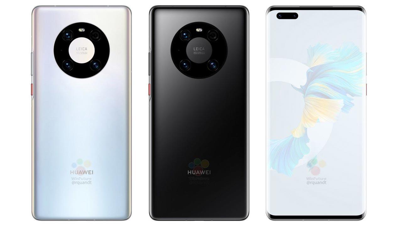 Huawei Mate 40 Pro lộ ảnh render với cụm camera 4 camera hình tròn, chip Kirin 9000, sạc 65W