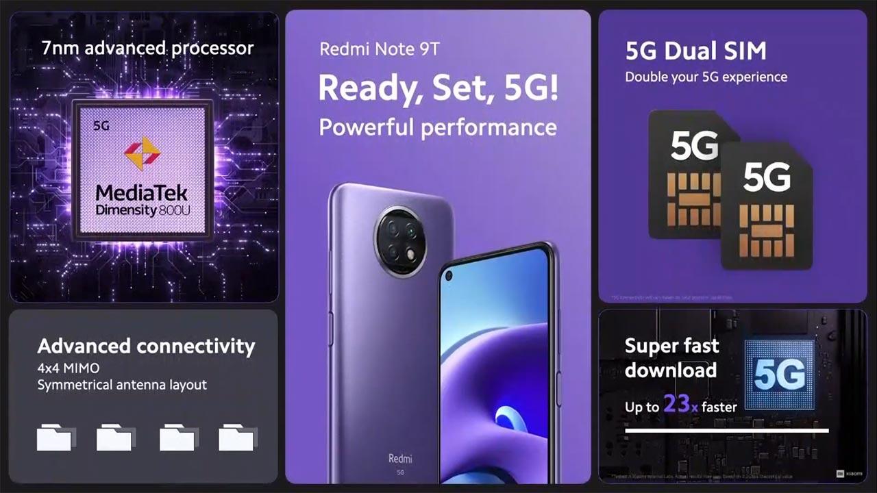 Xiaomi ra mắt Redmi Note 9T 5G với chip Dimensity 800U, hỗ trợ kết nối 5G, giá khởi điểm 229 Euro (gần 6.5 triệu VNĐ)